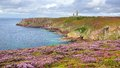 Lighthouse on cap frehel brittany france panoramic view over Stock Photo