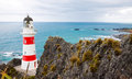 Lighthouse at Cape Palliser, New Zealand Royalty Free Stock Photo
