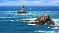 Lighthouse on Cape Sizun, Pointe du Raz. Stock Photography