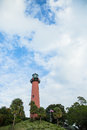 Lighthouse and cloudscape scenic view of with blue sky background Royalty Free Stock Photography