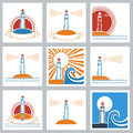 Lighthouse colors icons set of vector symbols Royalty Free Stock Image