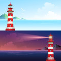Lighthouse during day and night horizontal banner set. Vector illustration Royalty Free Stock Photo