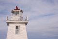 Lighthouse detail and partly cloudy sky Royalty Free Stock Image