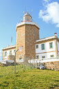 Lighthouse of finisterre spain vertical view the this place is the end the camino de santiago de compostela pilgrimage site Royalty Free Stock Image