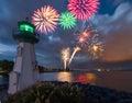 Lighthouse fireworks Royalty Free Stock Photo