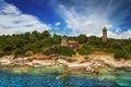 Lighthouse at Fiscardo, Kefalonia Royalty Free Stock Photo