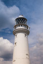Lighthouse in flamborough white on head england Stock Photography