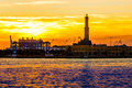 The lighthouse  of Genoa called Lanterna at sunset, Italy Royalty Free Stock Photo