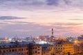 Lighthouse of Genoa at dusk Royalty Free Stock Photo