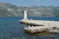 Lighthouse on Gospa Od Skprjela and islands Montenegro Royalty Free Stock Image