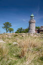 Lighthouse hammeren fyr on bornholm at sandvig denmark Royalty Free Stock Images