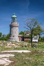 Lighthouse hammeren fyr on bornholm at sandvig denmark Royalty Free Stock Photo