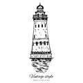 Lighthouse hand drawn ink vector illustration sketch, engraving tower of vintage style, Ethnographic trade center