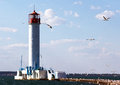Lighthouse in the harbor vorontsov of odessa ukraine Stock Photo