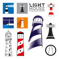 Lighthouse icon set layered vector illustration Stock Photos