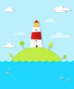 Lighthouse on the island this is file of eps format Royalty Free Stock Image