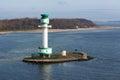 Lighthouse at an island near the harbor of kiel germany a small Stock Image
