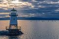 Lighthouse on lake breakwater Royalty Free Stock Photo