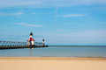 Lighthouse on Lake Michigan Royalty Free Stock Photo