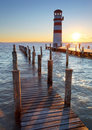 Lighthouse at Lake Neusiedl at sunset Royalty Free Stock Image