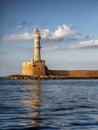 Lighthouse landmark harbour hania crete greece the at the entrance in island Stock Photos