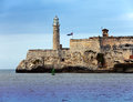 Lighthouse in morro castle fortress guarding the entrance to havana bay a symbol of havana cuba cityscape sunny day Stock Image