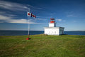 Lighthouse novascotia a white sits on a grassy point over looking the bay of fundy on brier island nova scotia the canadian flag Royalty Free Stock Photography
