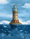 Lighthouse over a rock in the middle of the ocean Royalty Free Stock Photography