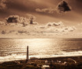 Lighthouse over sunset Royalty Free Stock Photo