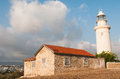 Lighthouse paphos cyprus building in coastline Stock Images