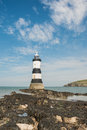Lighthouse the at penmon on anglesey in north wales Stock Photography