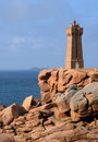 Lighthouse of ploumanach in brittany france the Royalty Free Stock Images