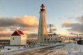 Lighthouse pointe au pere quebec canada en father point is a district of the city of rimouski which is Royalty Free Stock Photo