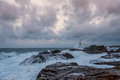 Lighthouse in the port of Ahtopol, Black Sea, Bulgaria Royalty Free Stock Photo