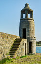 Lighthouse at port logan dumfries and galloway view of the stone steps on a bright sunny day Royalty Free Stock Photography