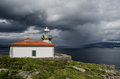 The lighthouse with a rain storm in background Royalty Free Stock Photos