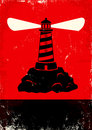 Lighthouse red and black poster with Royalty Free Stock Image