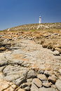 Lighthouse and Rocks Stock Images