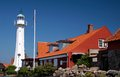 The lighthouse in roenne on bornholm denmark Stock Images