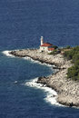 Lighthouse for safe navigation cape razanj on the west side of the brac island Stock Images