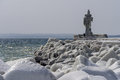 Lighthouse in sassnitz germany in winter Royalty Free Stock Images