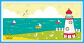 Lighthouse scenery cute vector illustration a seagulls boats and decorative elements eps Royalty Free Stock Photography