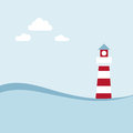 Lighthouse on the sea landscape fairy shore Royalty Free Stock Photography