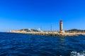 Lighthouse at the sea port of Saint - Tropez, Cote