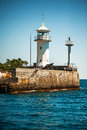 Lighthouse on the seafront of yalta yaltinsky white russia crimea Royalty Free Stock Photo