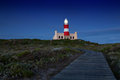 Lighthouse shining light in darkness with dark blue clouds Royalty Free Stock Photo