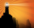 Lighthouse silhouette on abstract background color illustration Royalty Free Stock Images