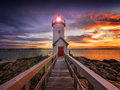 Lighthouse at sunset annisquam located in gloucester ma usa Stock Images