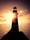 Lighthouse at sunset d render of a Stock Image
