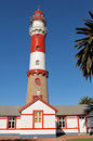 The lighthouse in swakopmund namibia historical commissioned it has a focal plane of m ft with a m ft round tower with lantern and Royalty Free Stock Photography